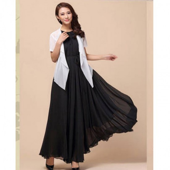 Sleeveless Bohemian Beach Maxi Chiffon Dress For Women-Black image