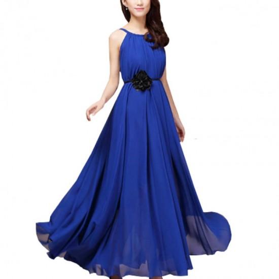 Sleeveless Bohemian Beach Maxi Chiffon Dress For Women-Blue image