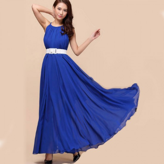Sleeveless Bohemian Beach Maxi Chiffon Dress For Women-Blue image