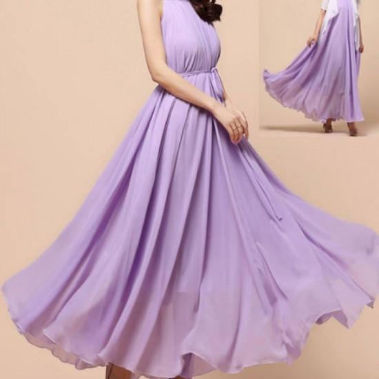 Sleeveless Bohemian Beach Maxi Chiffon Dress For Women-Purple image