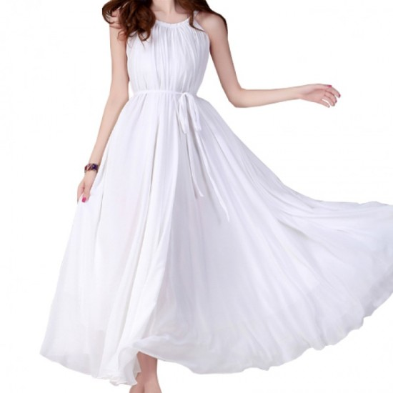 Sleeveless Bohemian Beach Maxi Chiffon Dress For Women-White image