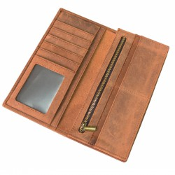 Brown Horse Skin Book Folding  Style Multi Card Coat Wallet With Zip