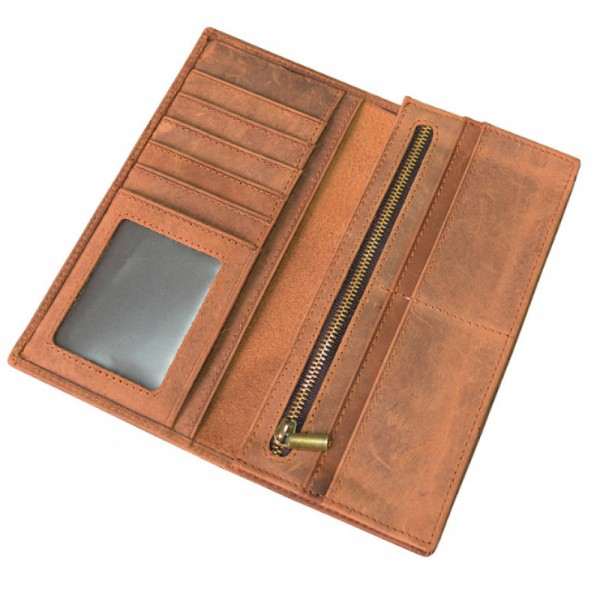 Brown Horse Skin Book Folding Style Multi Card Coat Wallet With Zip image