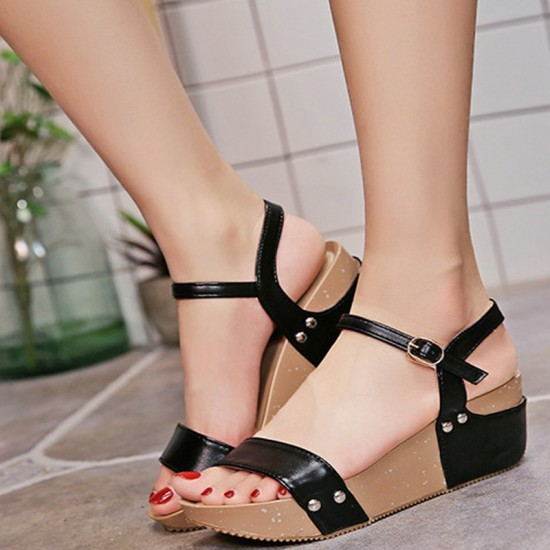 Thick Base Slope With High Heeled Waterproof Women Sandals-Black image
