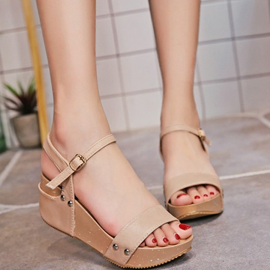Thick Base Slope With High Heeled Waterproof Women Sandals-Pink image