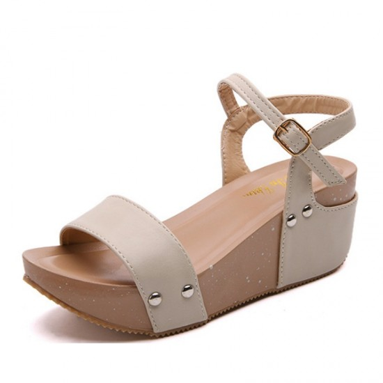 Thick Base Slope With High Heeled Waterproof Women Sandals-Cream image