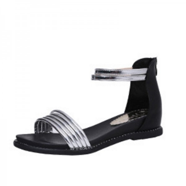 Silver Color Round Head Folder Toe Roman Women Sandals image