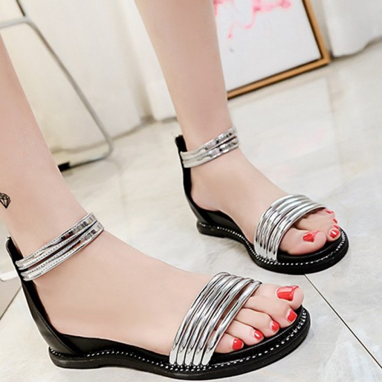 Round Head Folder Toe Roman Women Sandals-Silver image  Fashion