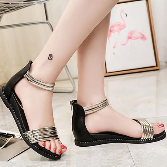 Round Head Folder Toe Roman Women Sandals-Gold image