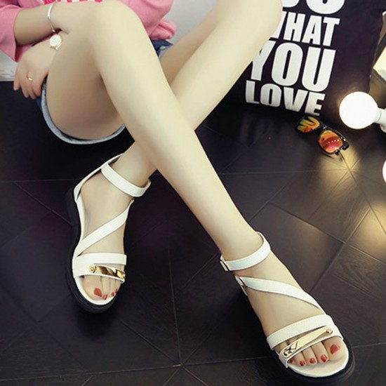 Thick Bottom Belt Buckle Women Sandals-White image
