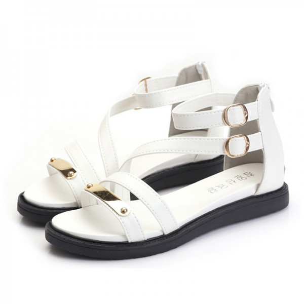White Color Thick Bottom Belt Buckle Women Sandals image