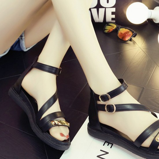 Thick Bottom Belt Buckle Women Sandals-Black image