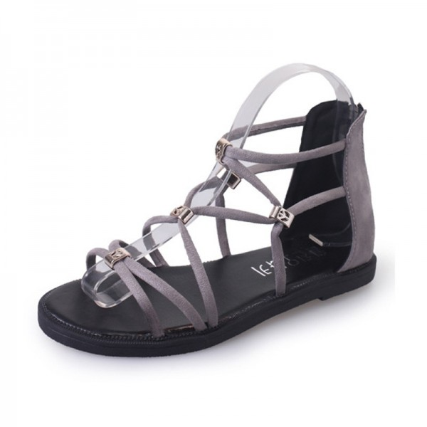 Grey Color Tide Rome Strip With Open Toe Women Sandals image