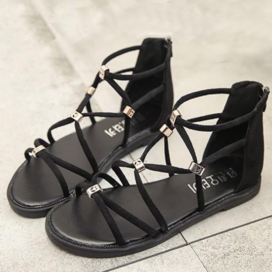Tide Rome Strip With Open Toe Women Sandals-Black image