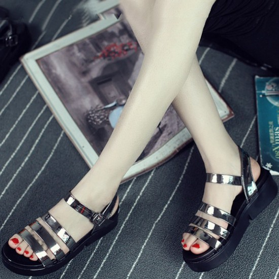 Tide Roman Bright Skin Color Thick Bottom Women Sandals-Grey image