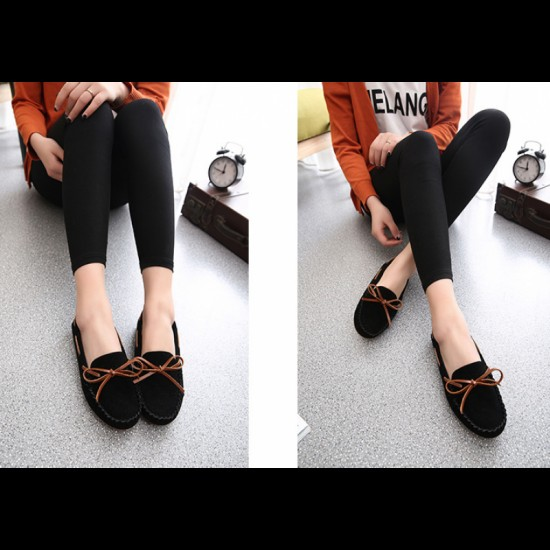 Suede Matte Comfortable Loafer Women Flats-Black image