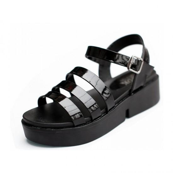 Tide Roman Bright Skin Thick Bottom Women Sandals-Black image