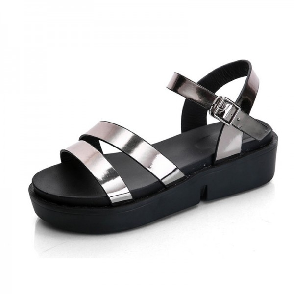Silver Color Summer Thick Open Toe Women Sandals image