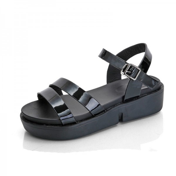 Black Color Summer Thick Open Toe Women Sandals image