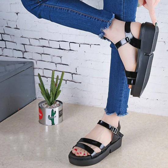 Summer Thick Base Open Toe Flats Sandals For Women-Black image