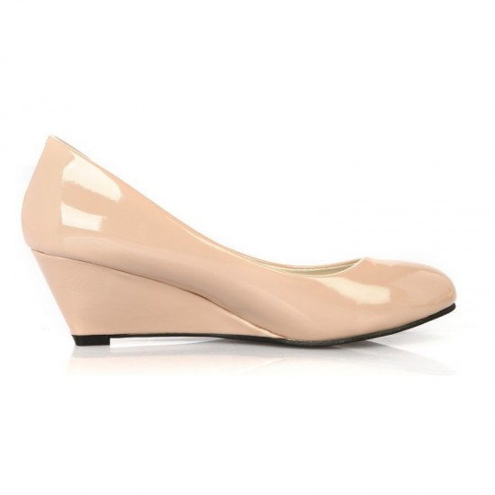 Women Leather Chunky Low Wedge Heel Shoes-Cream image
