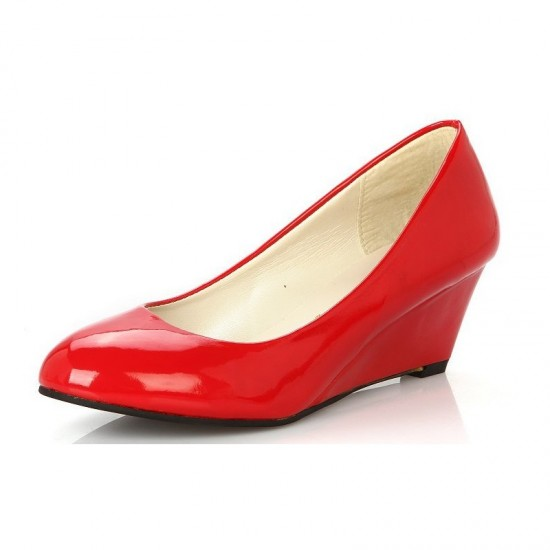 Women Leather Chunky Low Wedge Heel Shoes-Red image
