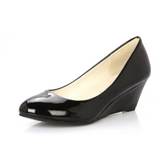 Women Leather Chunky Low Wedge Heel Shoes-Black image