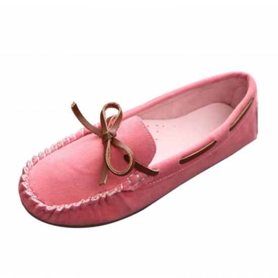 Pink Color Suede Matte Comfortable Loafer Women Flats image