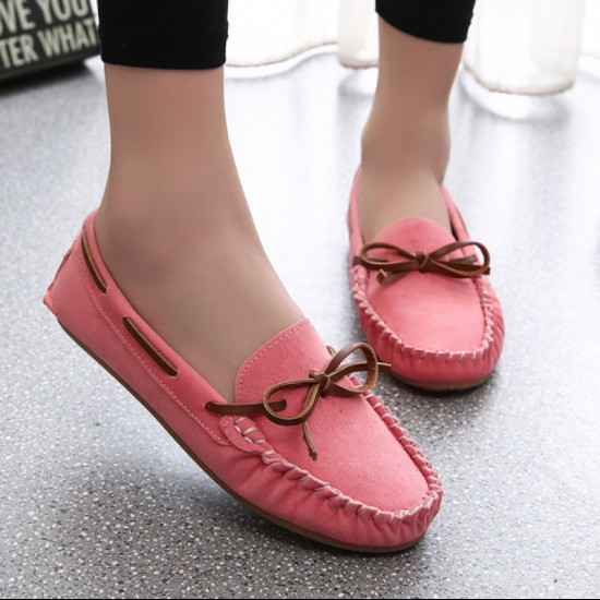 Suede Matte Comfortable Loafer Women Flats-Pink image