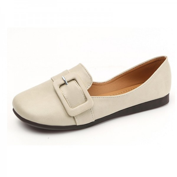 Women Cream Leather Shallow Mouth Flat Shoes image