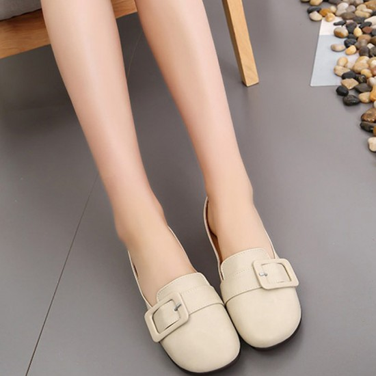 Women Leather Shallow Mouth Flat Shoes-Cream image