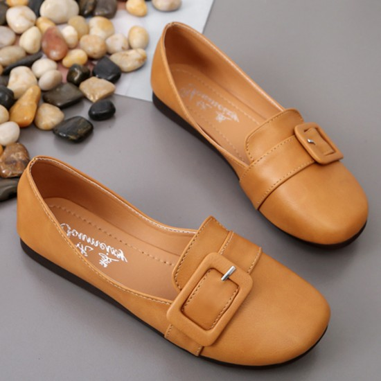 Women Leather Shallow Mouth Flat Shoes-Brown image