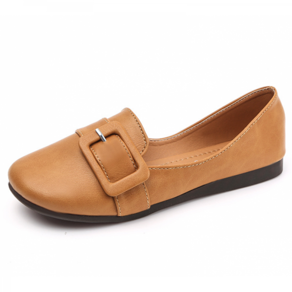 Women Brown Leather Shallow Mouth Flat Shoes image
