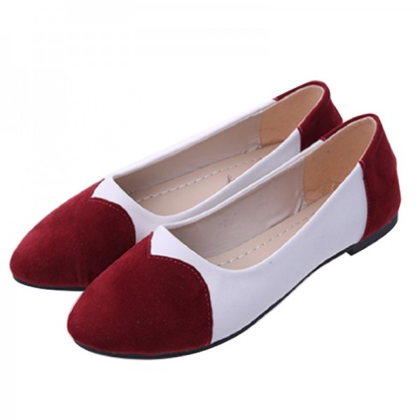 Red Color Tide Shallow Mouth Sweet Peas Round Flat Women Shoes image
