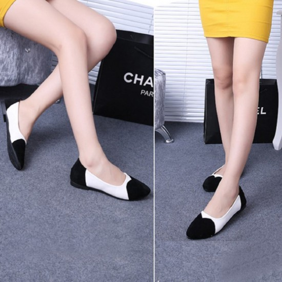 Slip-On Tide Shallow Mouth Sweet Peas Round Flat Shoes-Black image