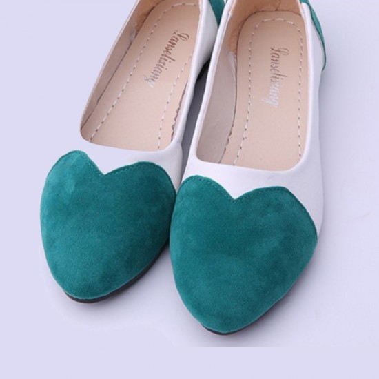 Slip-On Tide Shallow Mouth Sweet Peas Round Flat Shoes-Green image