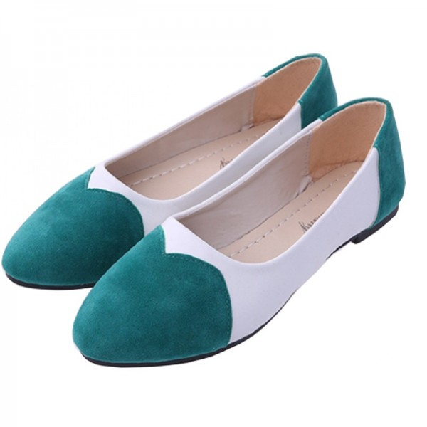 Green Color Tide Shallow Mouth Sweet Peas Round Flat Women Shoes image