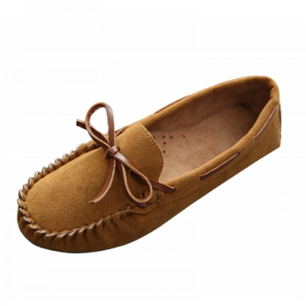 Brown Color Suede Matte Comfortable Loafer Women Flats image