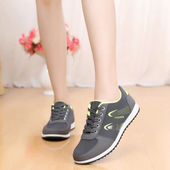 Lattice Pattern Canvas Sneaker Women Shoes-Grey image
