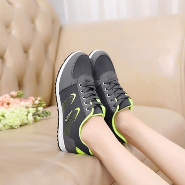 Women Lattice Pattern Grey Color Canvas Sneaker Shoes image