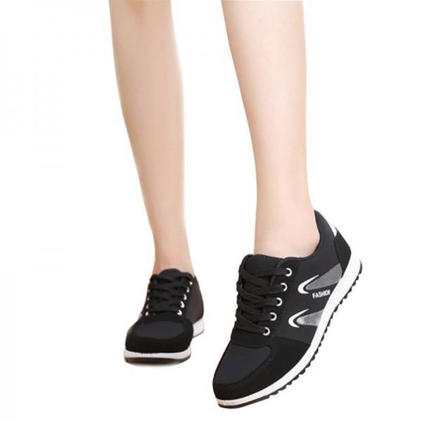 Women Lattice Pattern Black Color Canvas Sneaker Shoes image