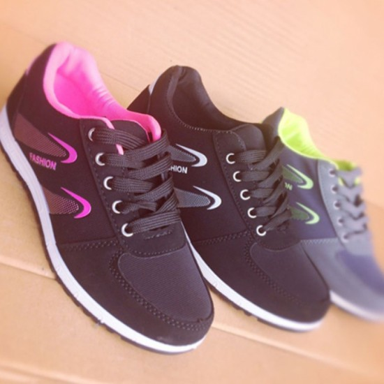 Lattice Pattern Canvas Sneaker Women Shoes-Black & Pink image