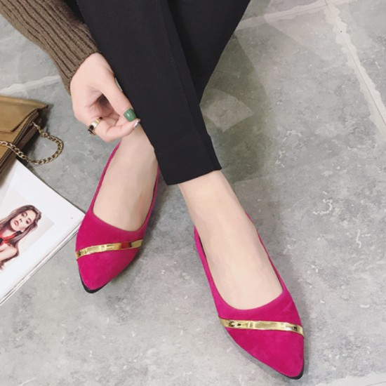 Women Pointed Pink with Gold Ribbon Flat loafers Suede Shoes-Pink image