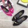 Women Pointed Pink with Gold Ribbon Flat Suede Shoes image
