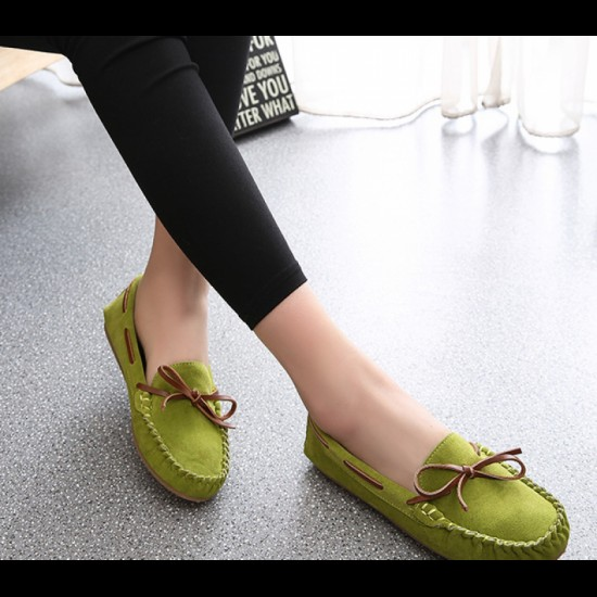 Suede Matte Comfortable Loafer Women Flats-Green image