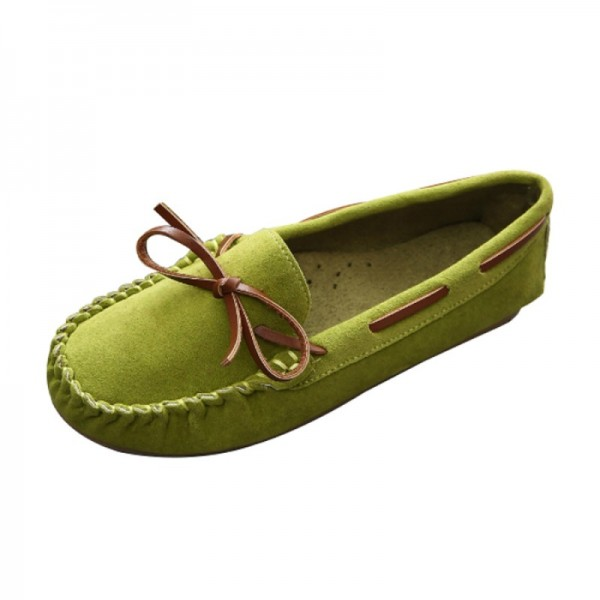 Green Color Suede Matte Comfortable Loafer Women Flats image