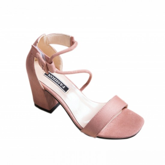 Female Summer Open Toe With High Thick Heel sandals-Pink image