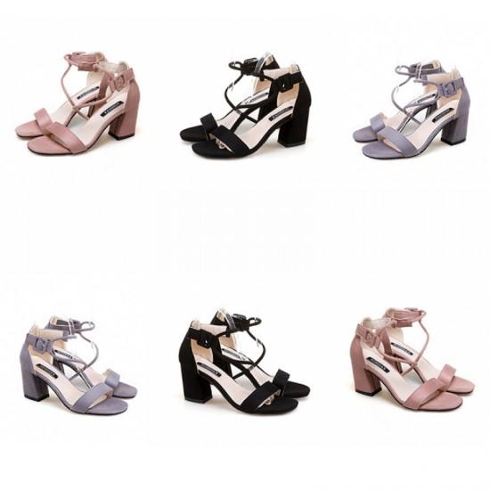 Women Word Buckle Pink High Heels Sandals image