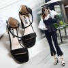 Women Word Buckle Black High Heels Sandals image
