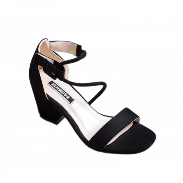 Women Word Buckle Black High Heels Sandals image